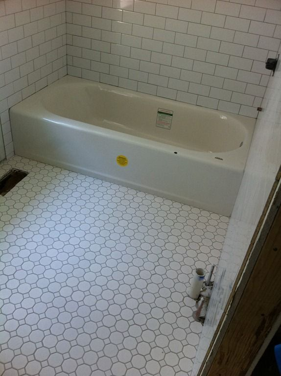 Octagon white tile with gray grout color google search upstairs bathroom pinterest tiles for Bathroom floors without grout