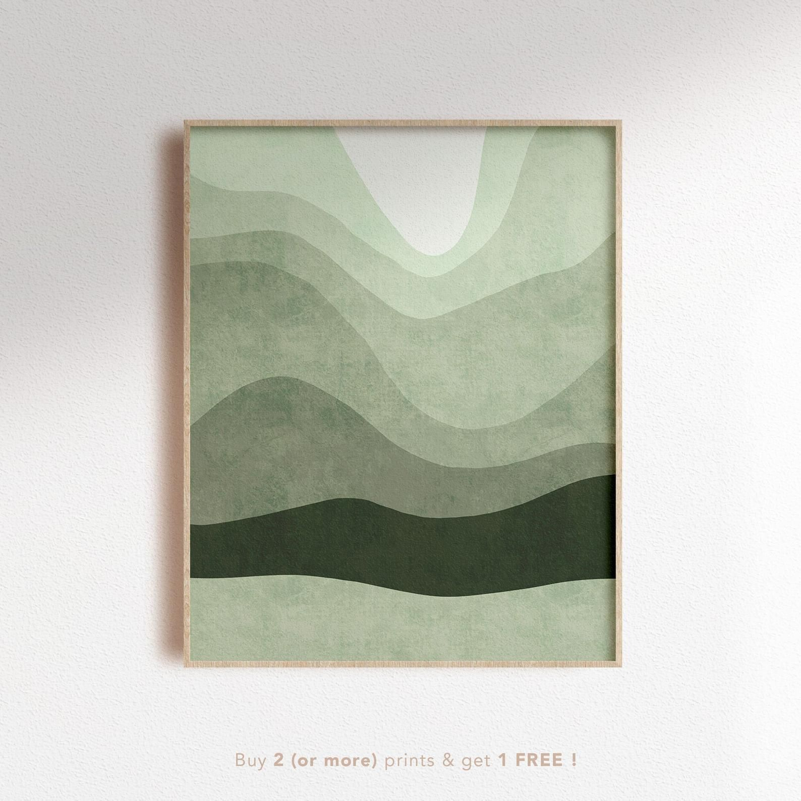 Mint Abstract Landscape Digital Print Green Mountain Scenery Poster Ombre Lines Poster Vintage Wall Art Prints Digital Art Prints Mountain Art Print