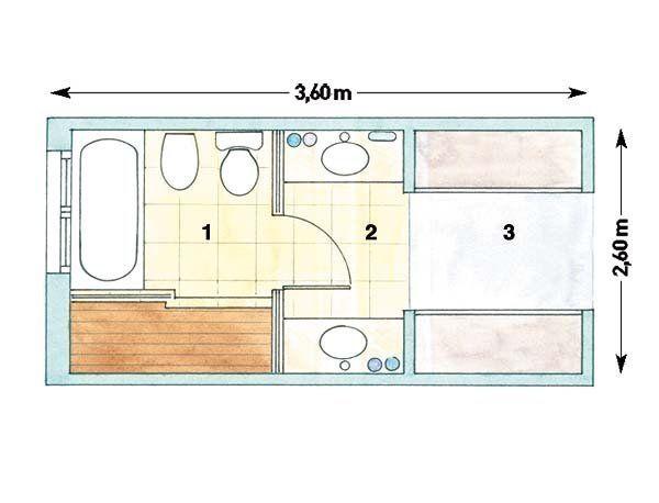 En dos zonas | Planos De La Casa | Planos de baños, Planos ...