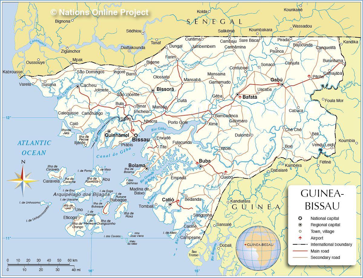 Political Map of Guinea Bissau GuineaBisseau Pinterest Guinea