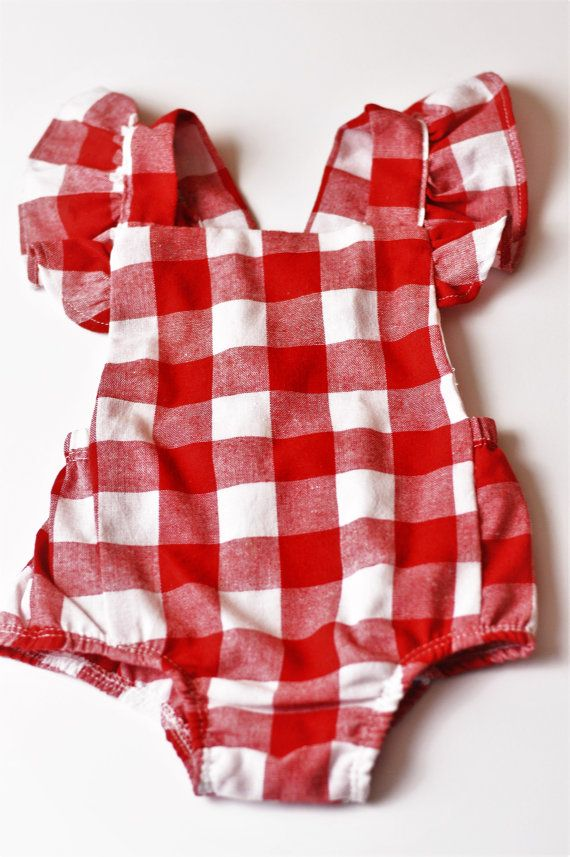 e214839e21b5 Gingham · Ruffles · Infant · Red And White · Summer Dresses · Girl Fashion  · Rompers · Check out this item in my Etsy shop https   www.etsy.