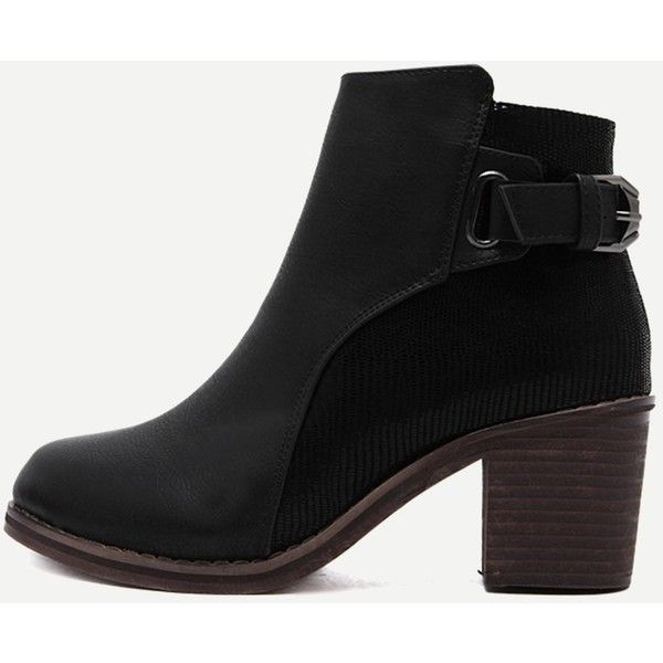 edf5f23a70 SheIn(sheinside) Black PU Snakeskin Trim Distressed Cork Heel Short...  ($43) ❤ liked on Polyvore featuring shoes, boots, distressed ankle boots,  ...