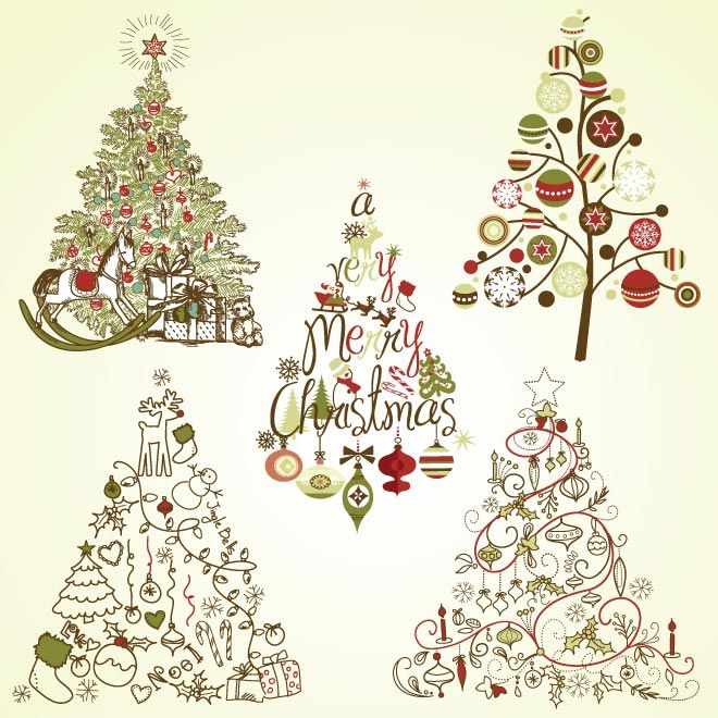 Vector Merry Christmas Calligraphic Vintage Retro Style Hand Drawn Tree Wallpaper
