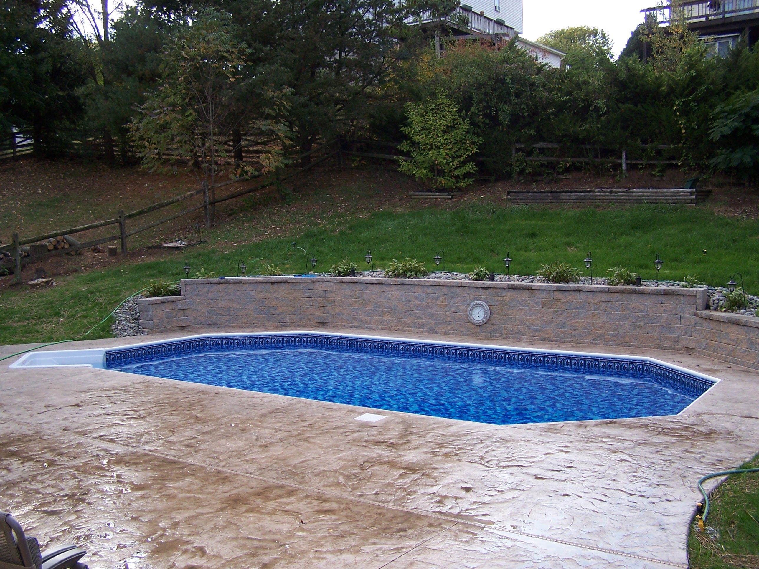 Admiral Pools Llc Inground Pool Landscaping Sloped Backyard Concrete Patio