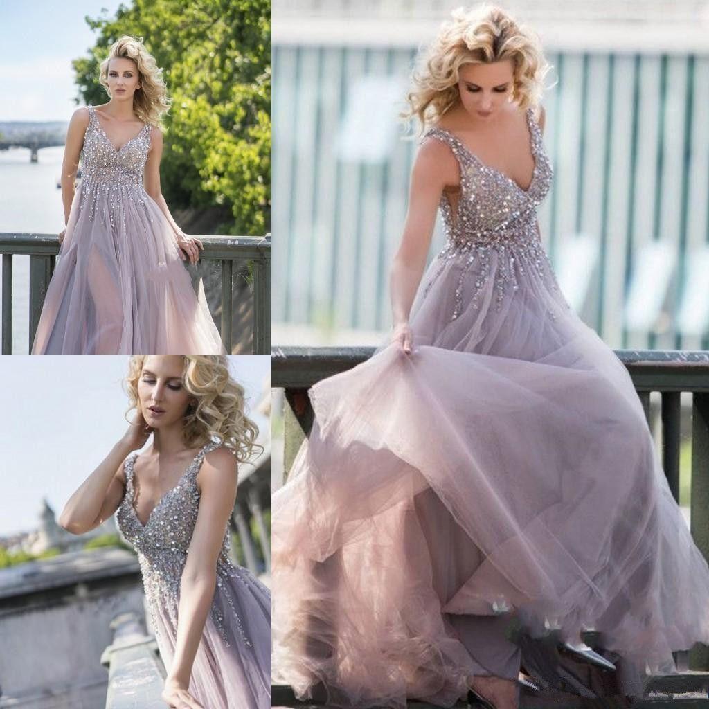 Gorgeous purple prom dresses v neck a line beaded floor length