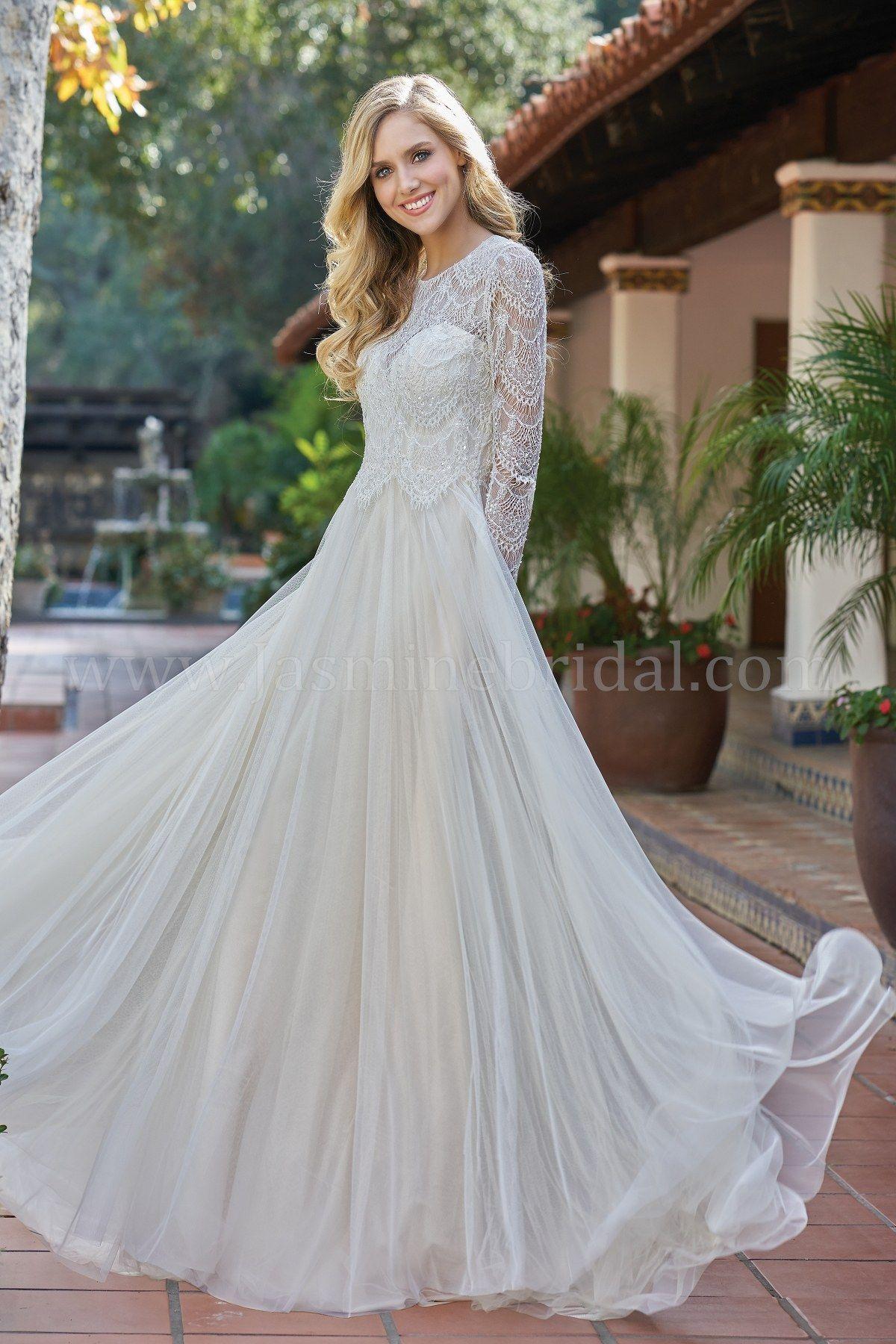 Jasmine bridal collection long sleeve wedding dress lace