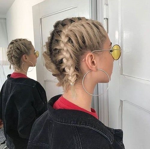 Two French Braids Short Hairstyle Best French Braid Short Hair Ideas 2019 Short Hair Styles Easy French Braid Short Hair Braids For Short Hair