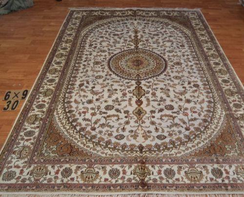 6'x9' Handmade Hand-knotted 200 kpsi Silk Oriental Persian Tabriz Rug 220