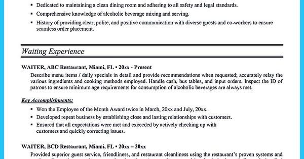 Outstanding Details You Must Put In Your Awesome Bartending Resume ...
