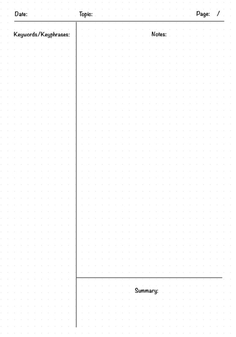 Free Template For Cornell Notes Note Writing Paper Notetaking Study Cornell notes full size template