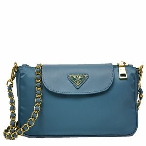 cfe251c4db08 Prada Blue Tessuto Saffiano Leather Chain Handle Crossbody Bag BT0779