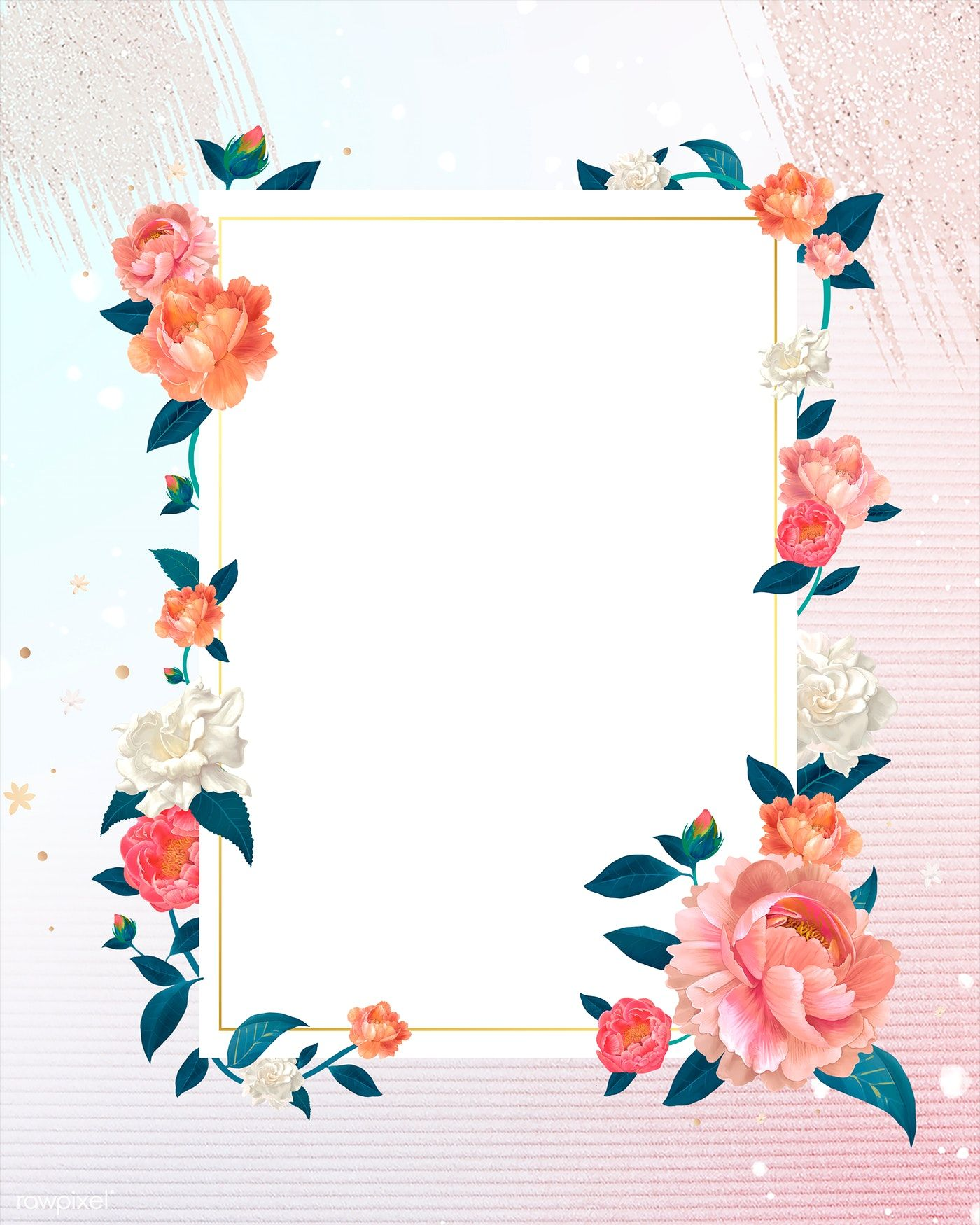 Download Premium Illustration Of Blank White Floral Card Template Floral Cards Flower Illustration Blue Background Wallpapers