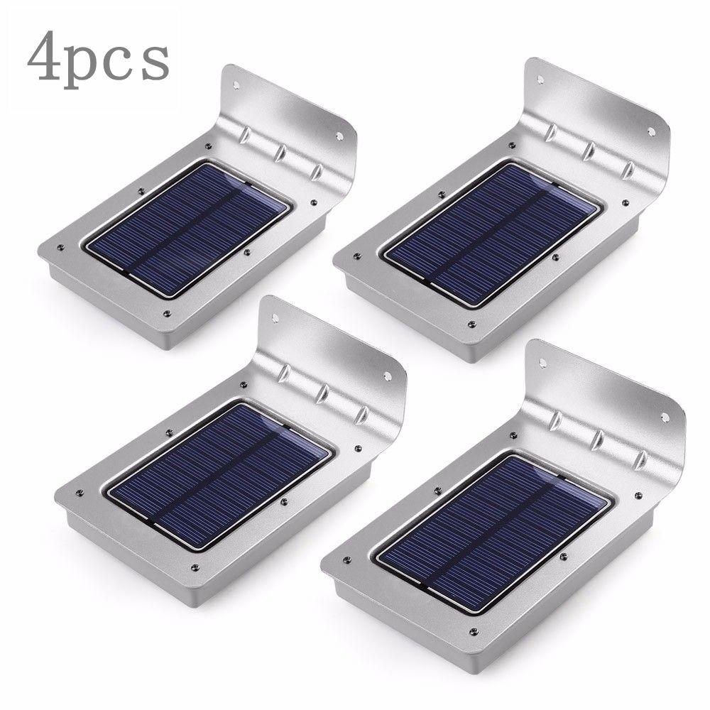 Pir Light Wireless Outdoor Led Solar 4pcs Powered 16 L3R5j4A