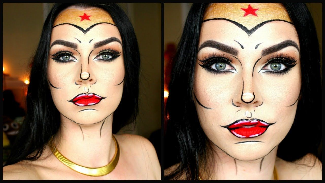 Wonder Woman Makeup Tutorial! Comic Pop Art - YouTube ...