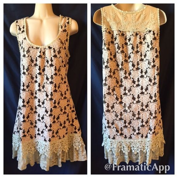 """Anthropologie A'reve floral lace dress Gorgeous and romantic Anthropologie dress! The dark lace is black and the rest are different shades of cream, great fall colors  Very soft and comfortable and fully lined. The length is about 36"""" Anthropologie Dresses"""
