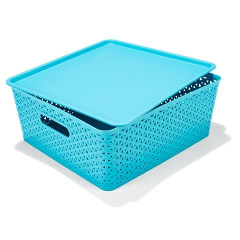 Flat Storage Container With Lid Teal Kmart 8 Storage