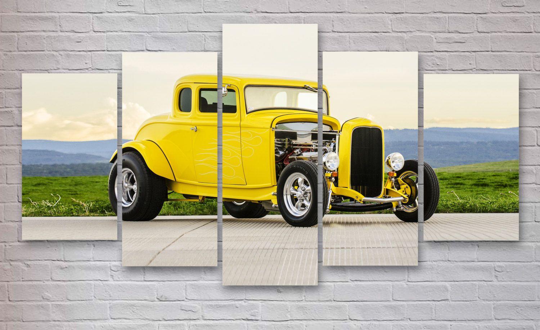 Yellow Hot Rod 5 Panel / Piece Canvas - Wall Art - Wall Canvas ...