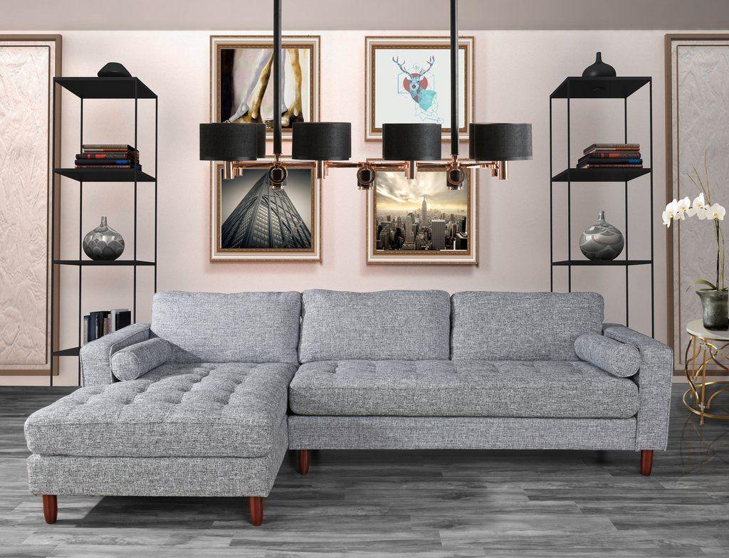 Bonnie Contemporary Linen Sectional Sofa Comfortable Sectional