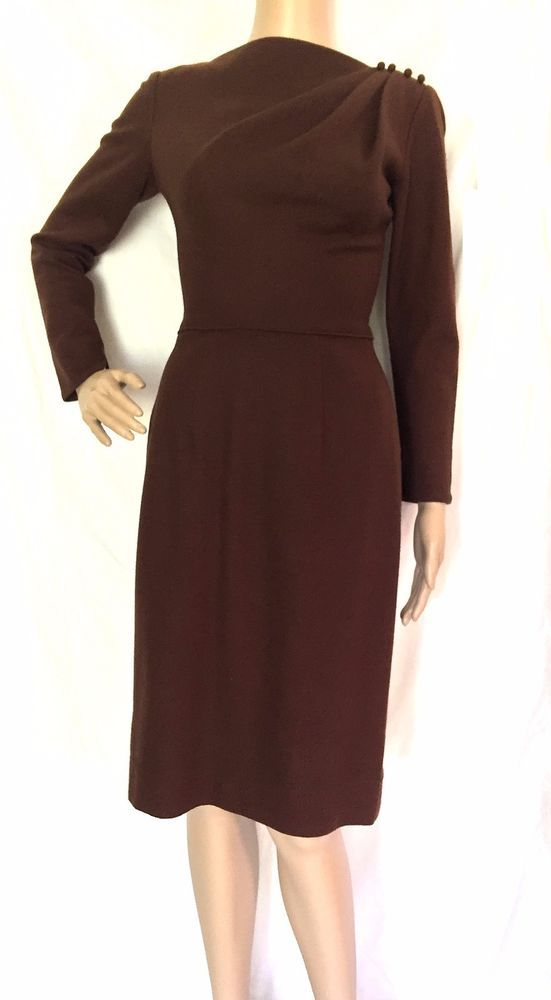 Lilli Diamond 1950's Rare Brown Wool Dress - VTG - Size 6 - Excellent Condition #LilliDiamond #WigglePencil