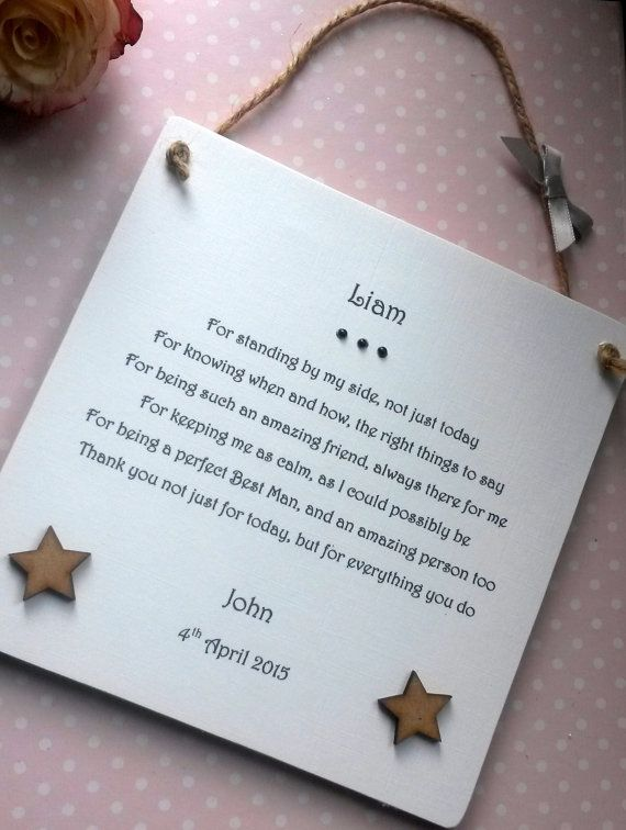 Best Man Gift Personalised Wedding Thank You Plaque By Aandfcrafts
