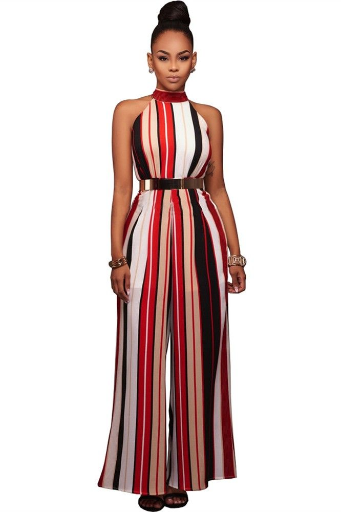 be66c6eaf1db Classy Halter Wide Legged Rompers Women Striped Jumpsuit