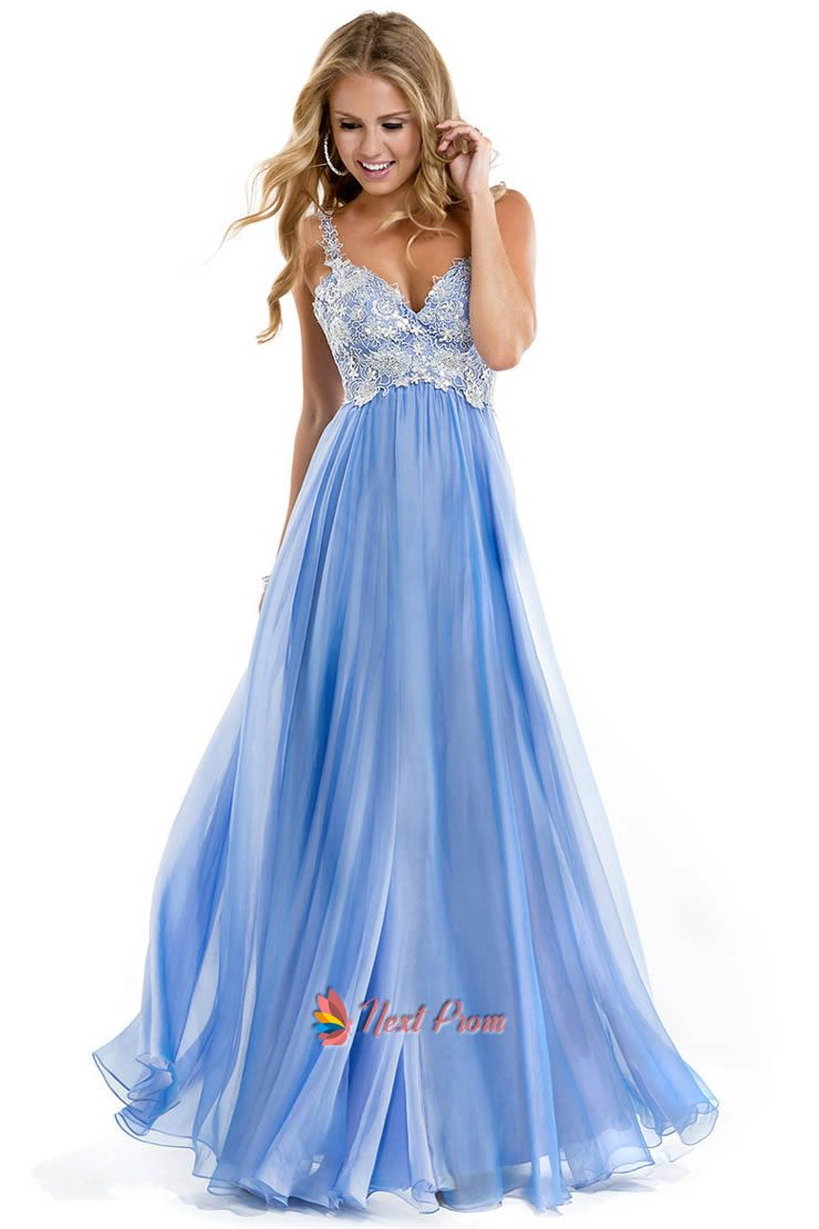 Light blue prom dresses with strapslace overlay straps evening