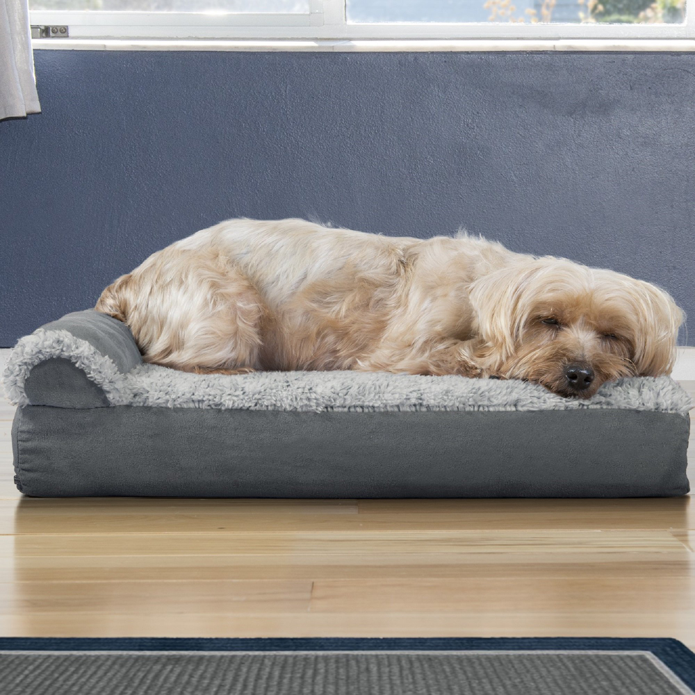 """FurHaven Two-Tone Faux Fur & Suede Deluxe Chaise Lounge Orthopedic Sofa Dog Bed Stone Gray, 20"""" L x 15"""" W"""