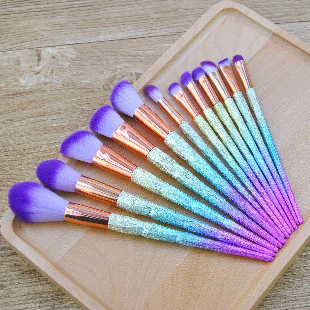 New 12Pcs Unicorn Makeup Brush Set Cheek Blush Powder
