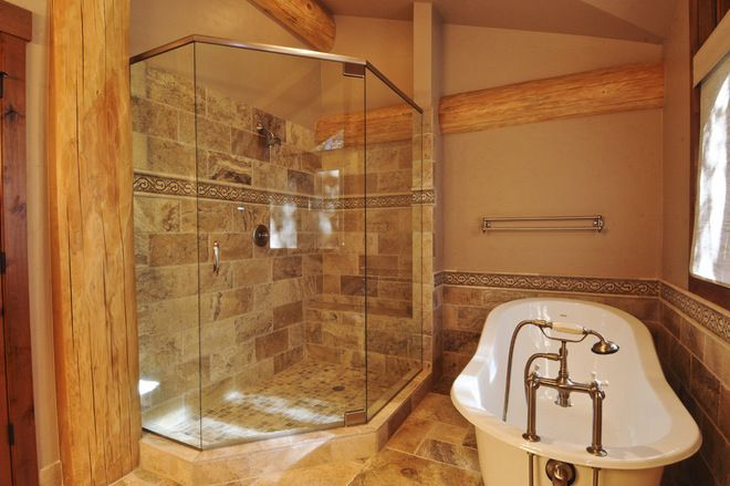 Tuscan Bathroom Tile Designs Bathroom By Mountain Log Homes Interiors Bath Ideas