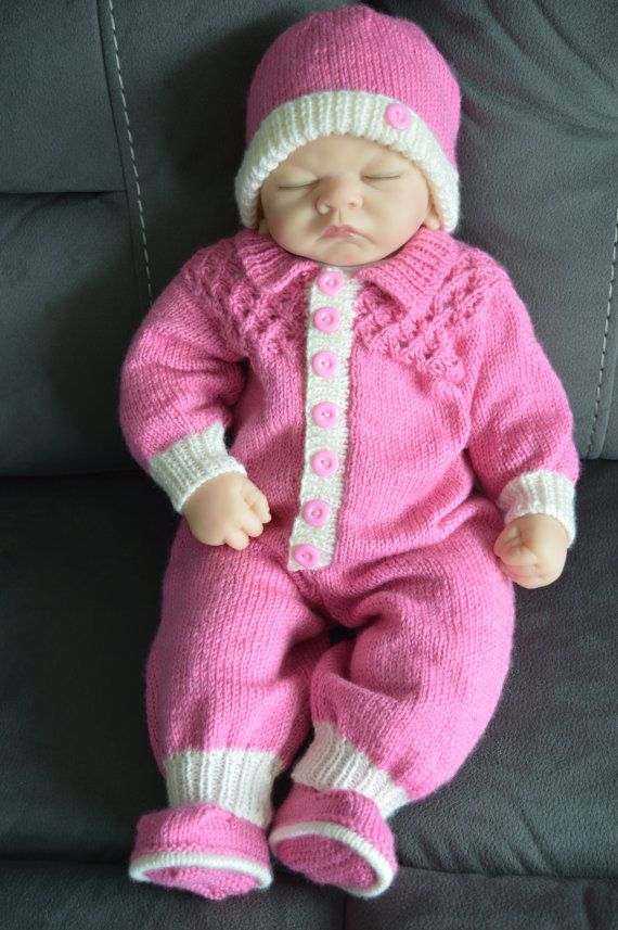Baby Romper Suit, Hat and Booties in Raspberry Pink and Cream 0-3 ...