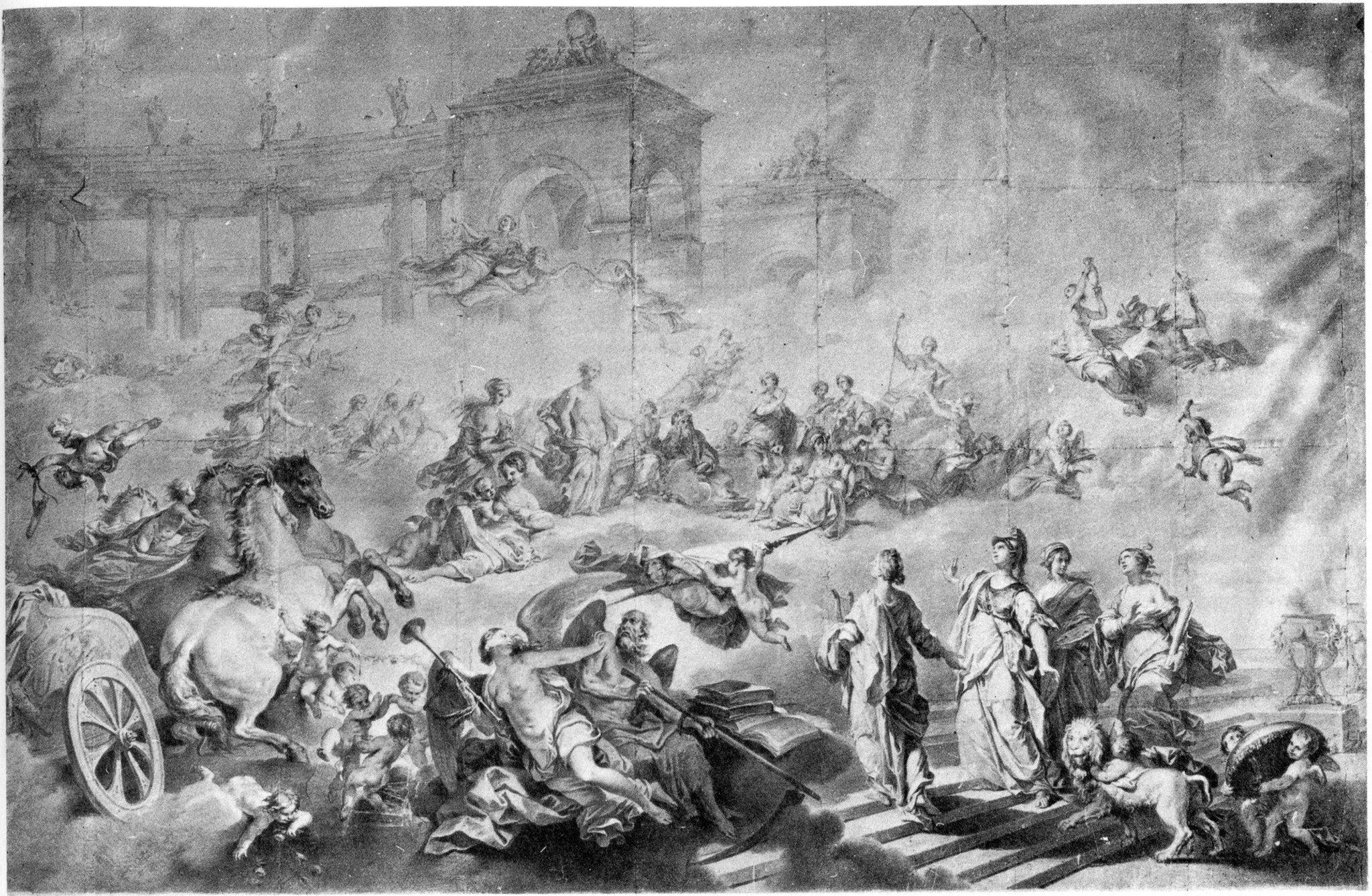 https://flic.kr/p/zGsibf | Napoleone Angiolini (1797 - 1871) | L'apoteosi di Felsina alla Reggia di Apollo - Bozzetto per il sipario del Teatro Comunale di Bologna (1853)