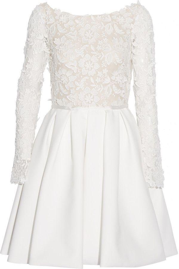 Rime Arodaky Clover Appliquéd Tulle and Twill Dress
