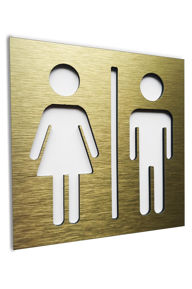 Gold Aluminium Male And Female Bathroom Sign Wc Square Signage Restroom 4 7 X 4 7 Plaque Bathroom Signs Washroom Signage Minimalist Layout