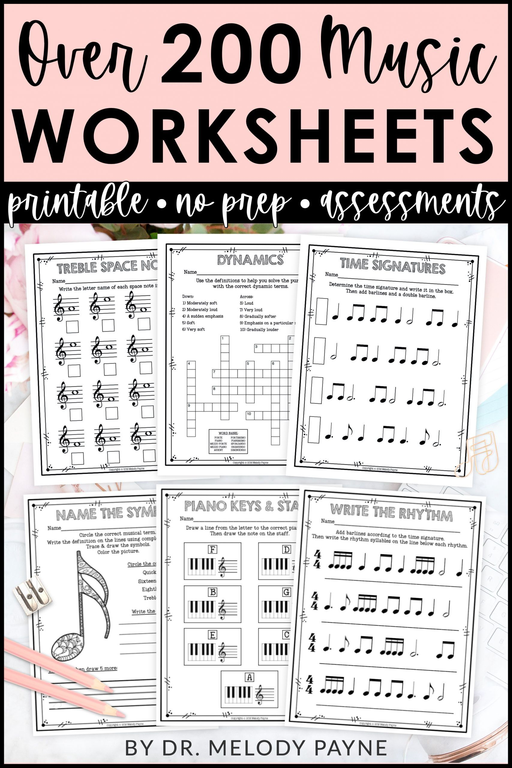 Music Theory Worksheets Over 200 Print And Go No Frills