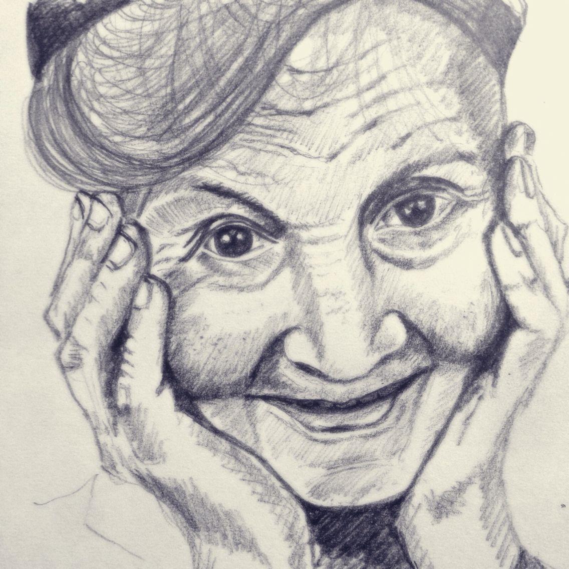 Smile pencil sketch on paper