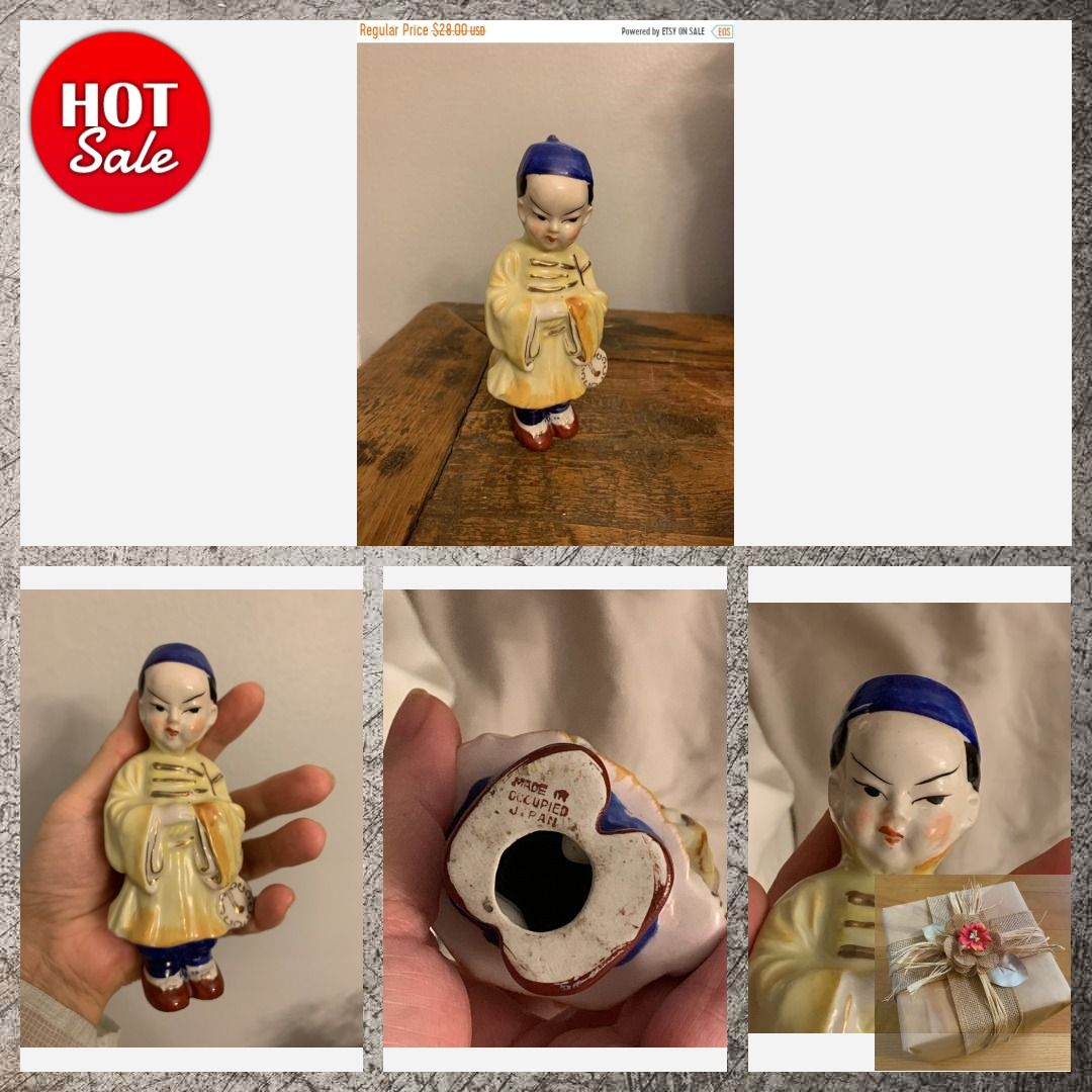 NEW YEAR SALE Vintage Porcelain Oriental Manchu Boy With