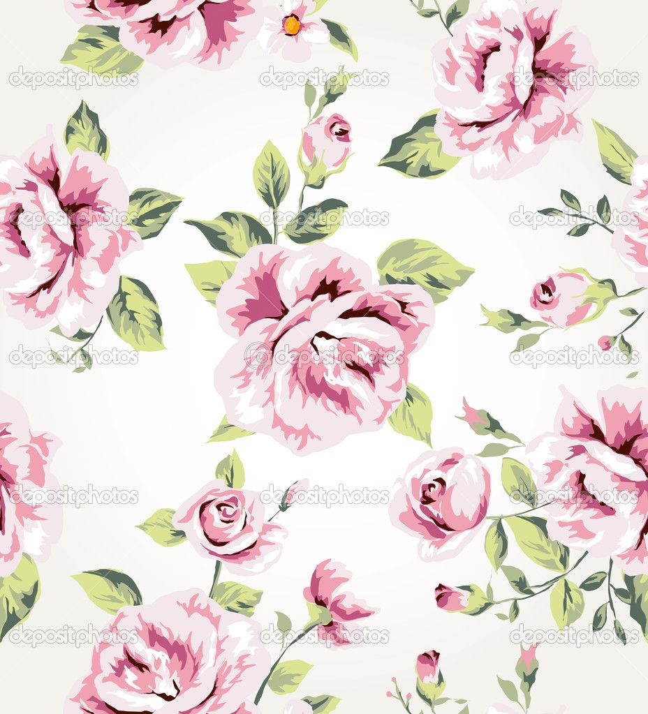 Seamless vintage flower pattern vector background — Stock