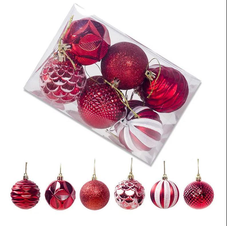 12pcs Set Christmas Balls Decoration With Hanging Rope Etsy In 2020 Christmas Balls Decorations Christmas Balls Ball Decorations
