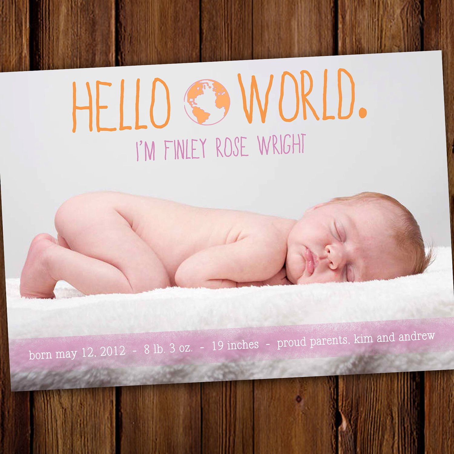 Boy or Girl Baby Announcement Birth Announcement Hello World – Etsy Baby Announcements