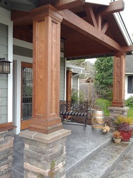Stone and cedar design pictures remodel decor and ideas for Decorative exterior columns for house