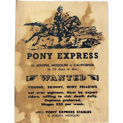Pony Express Wanted Poster At Circle Kb Cowboy Gear The Western