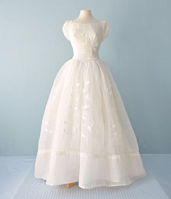 Vintage 1950s Wedding Gown Belle Bride Original Full Length Organza Wedding Dress Organza Wedding Gowns Unusual Wedding Dresses Vintage Dresses