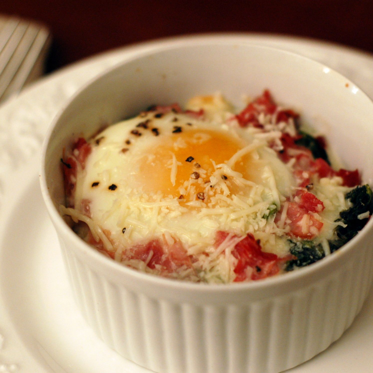 Baked Eggs Florentine for Two