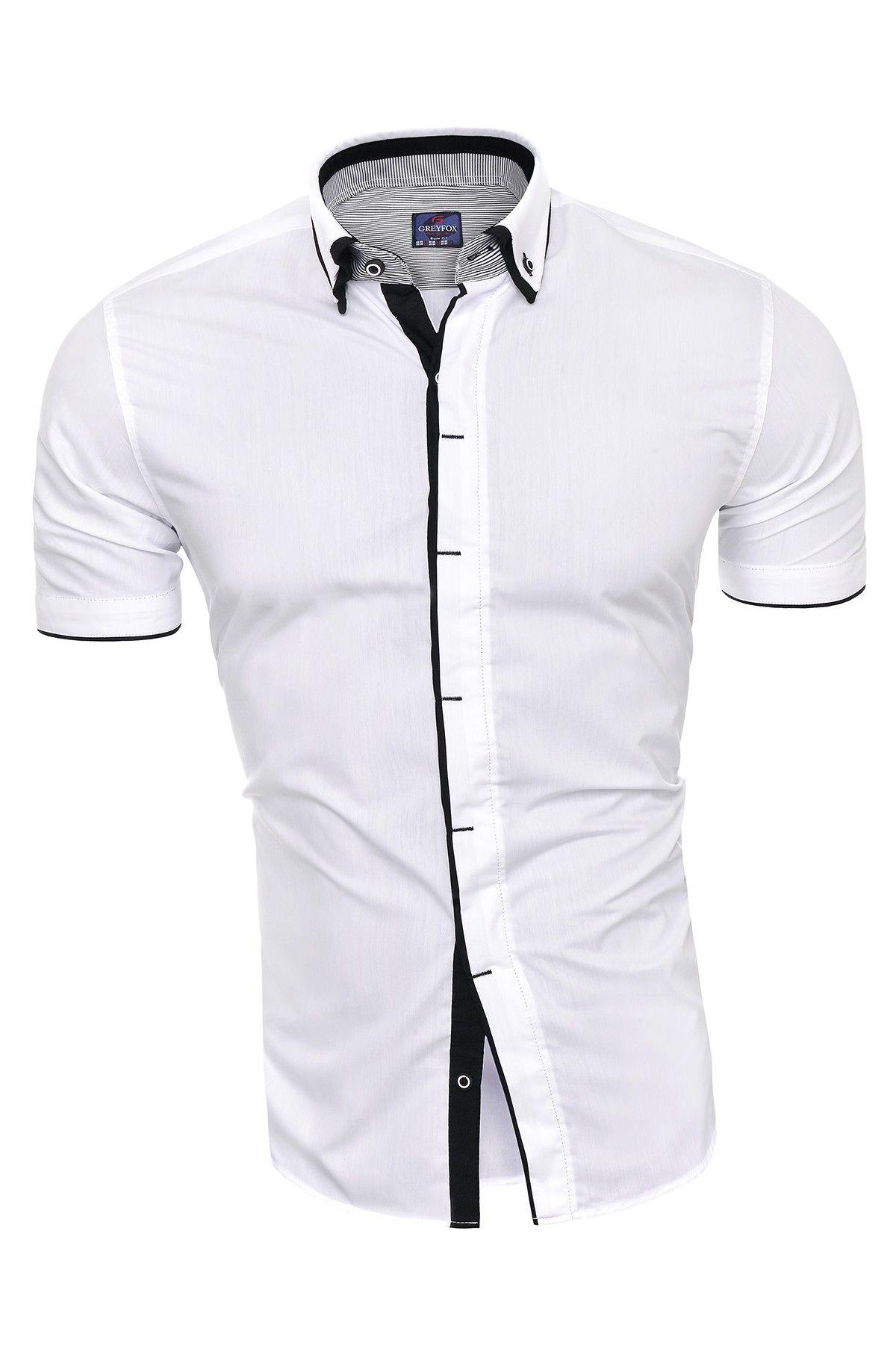 920a679b5db7e8 Koszula męska z krótkim rękawem cd24 - biały | Clothing for my MEN ...