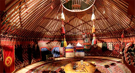 yurt in moonlight, kyrgystan | yurt interior, yurts and interiors
