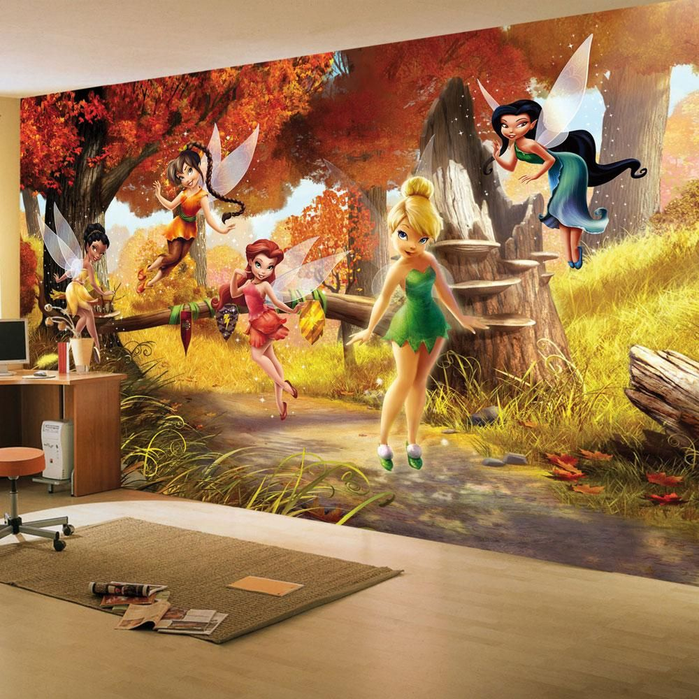Details About Disney Fairies Tinkerbell Friends Large Wall Mural Room Decor Wallpaper New