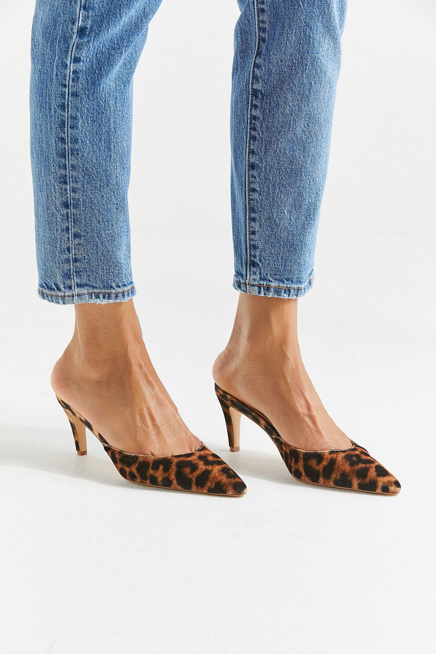 Uo Leopard Kitten Heel Mule Urban Outfitters Casual Shoes Women Women Shoes Edgy Heels