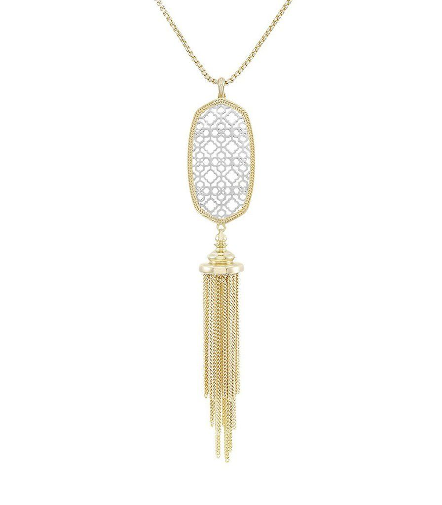 """A lightweight tassel pendant inspired by our signature Rayne, the playful Benning Necklace is classic style, reimagined. Rhodium Plated Over Brass Size: 4""""L X ."""