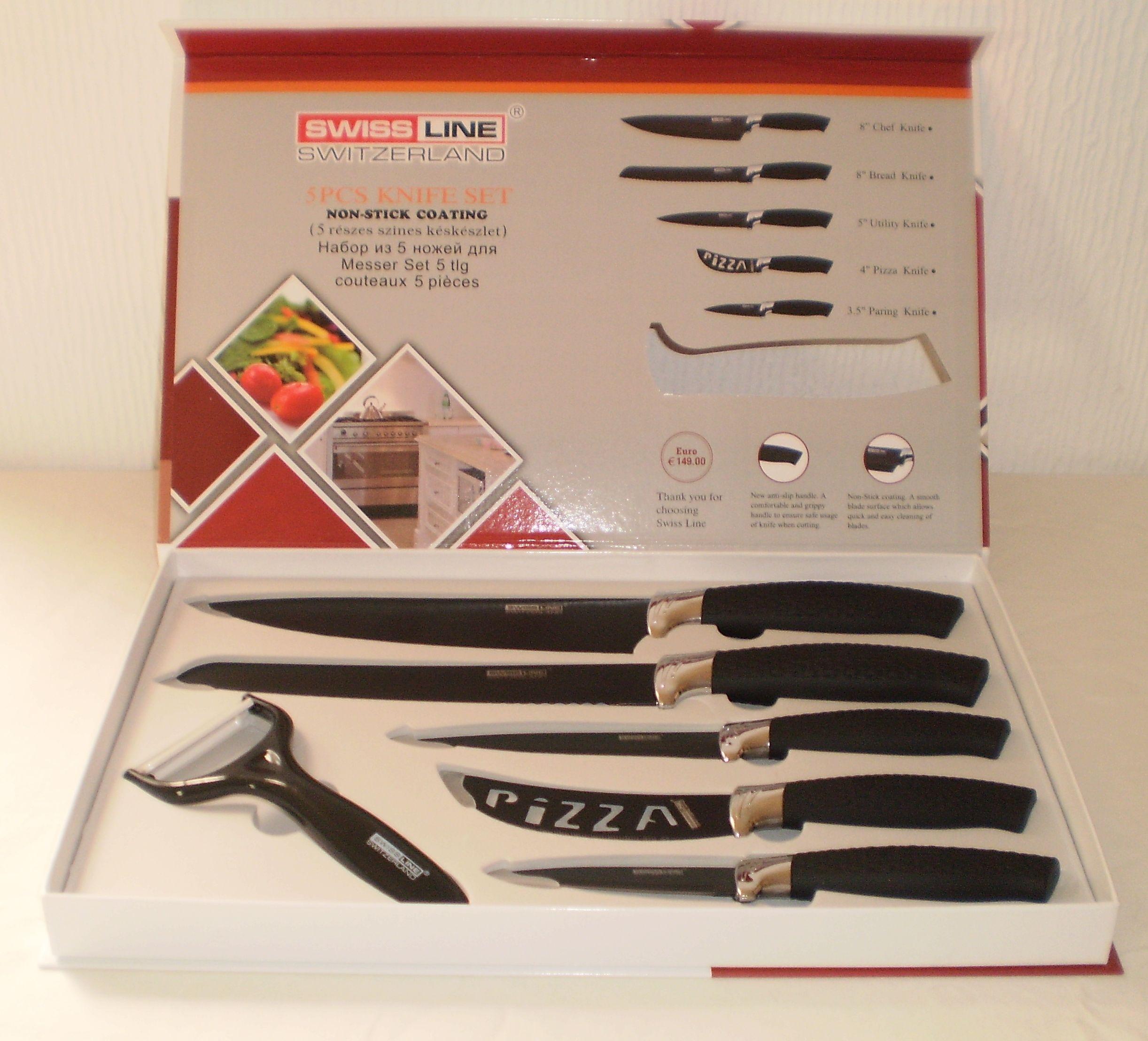 swiss line switzerland 5 piece non stick kitchen chef knife set swiss line switzerland 5 piece non stick kitchen chef knife set