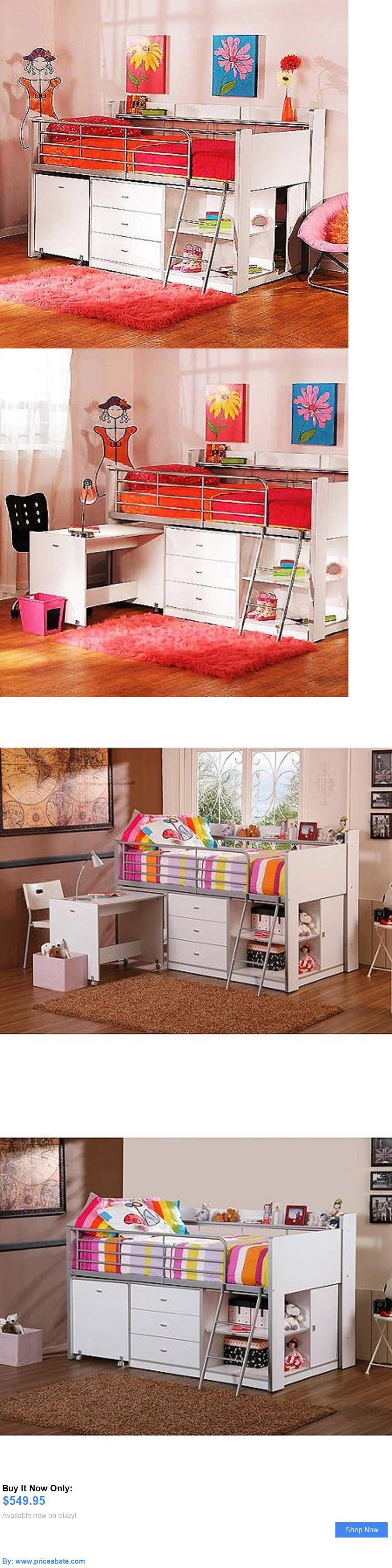 Kids furniture twin loft bunk bed storage desk white kids bedroom